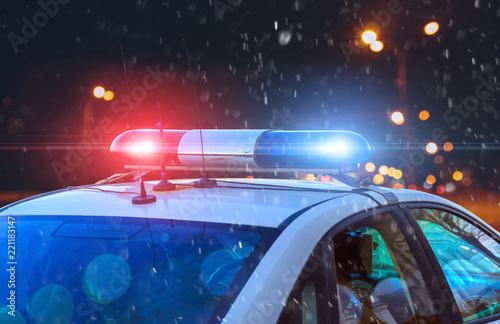 Fotografía  police car on the street close up
