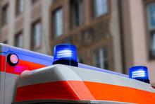 Ambulance Car With Blue Flashlights