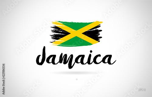 Fotografia jamaica country flag concept with grunge design icon logo