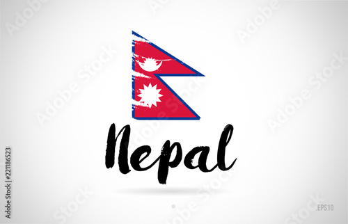 Fotografie, Obraz  nepal country flag concept with grunge design icon logo