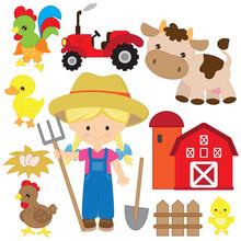 Cute Farmer Girl Vector Cartoo...