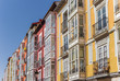 Colorful houses with traditional Bay windows in Burgos, Spain