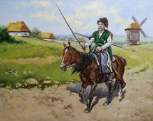 Cossack. Oil Paintings Landscape. Ukraine, Old Village. Fine Art.