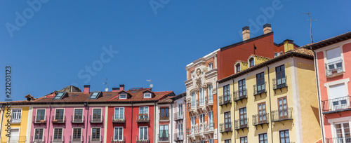 Panorama of colorful houses at the Plaza Mayor square in Burgos, Spain