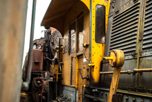Vintage Diesel Train On Urbex Shunting Platform, Authentic Industrial Details And Craftsmanship Along The Rail Way And Train Station