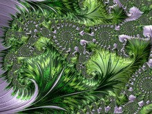 Green Purple Abstract Computer Generated Fractal Design. Fractals Are Infinitely Complex Patterns That Are Self-similar Across Different Scales. Great For Cell Phone Wall Paper. Images Of Mandelbrot