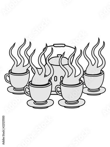 Viele Party Freunde Kuchen Servieren Glas Tasse Tee Kanne Kaffee