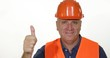 Victory Sign Ok Gesture Thumbs Up Smiling Construction Worker Job Complete Done