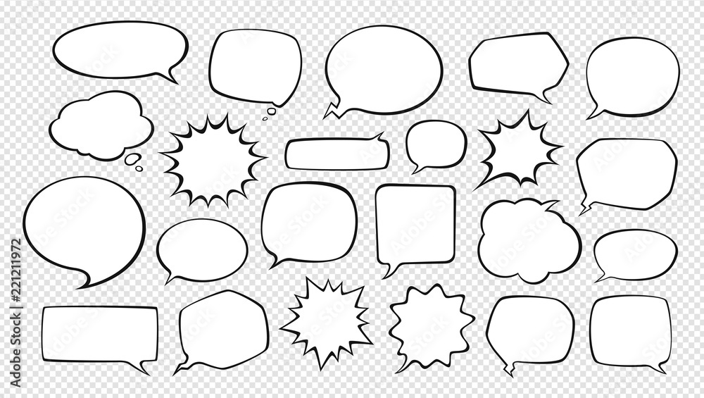 Fototapety, obrazy: Set of comic speech bubbles. Cartoon vector illustration