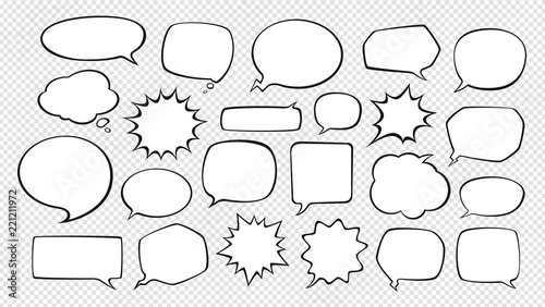 Valokuva  Set of comic speech bubbles. Cartoon vector illustration