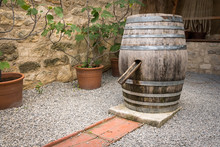 Old Wine Barrel Used As Water ...