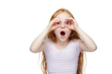 Red Haired Girl Making Binoculars With Her Hands