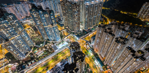 Aerial view of Hong Kong City at night