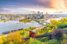 Downtown Skyline Of Pittsburgh, Pennsylvania At Sunset