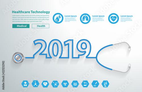 stethoscope heart creative design ideas concept happy new year 2019 calendar cover typographic vector