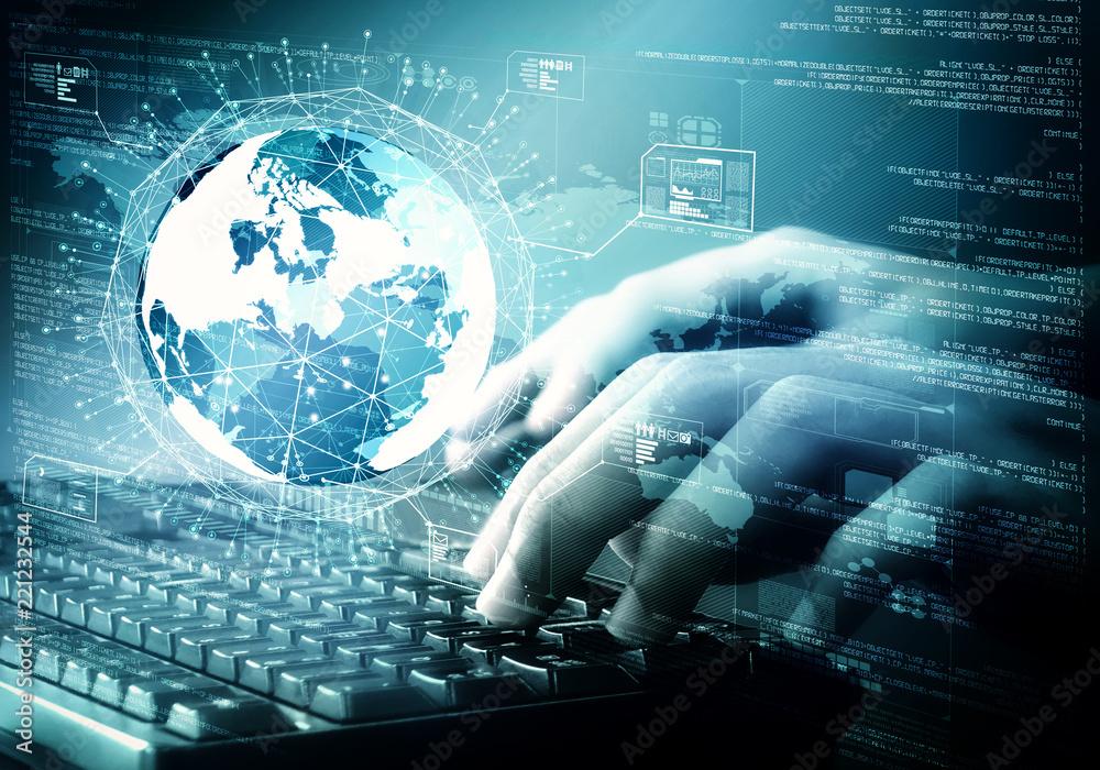 Fototapeta Internet Big data and programming concept