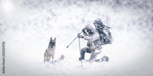 Slika na platnu Rescue in the snow with German shepherd dog and firefighter mountaineer - 3d Ill