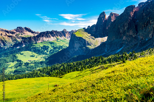 Spoed Foto op Canvas Nachtblauw Natural landscape of the limestone Italian Alps