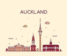 Auckland City Skyline New Zealand Vector Linear