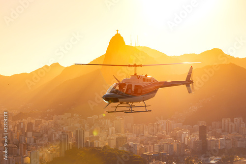 Foto op Plexiglas Helicopter helicopter over the Rio