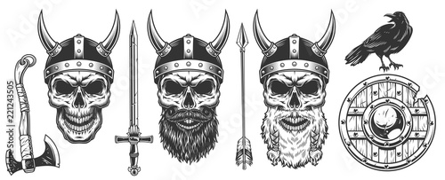 Set of viking warriors Canvas Print