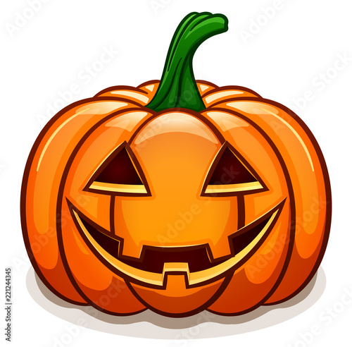 Leinwand Poster Vector pumpkin with smile face