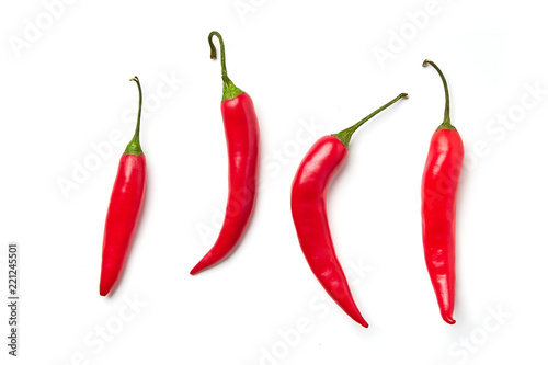 Red chili pepper on a white background Fotobehang