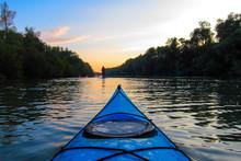 Bow Of Blue Kayak On Danube Ri...