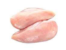 Raw Chicken Fillet On White Ba...
