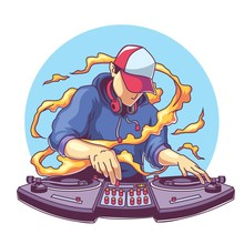 Cool Disc Jockey With Headphone Mixing Music