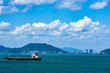 Panoramic view from sea of Vung Tau city, Vietnam in Mekong river delta