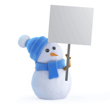 Vector 3d Snowman With A Placard