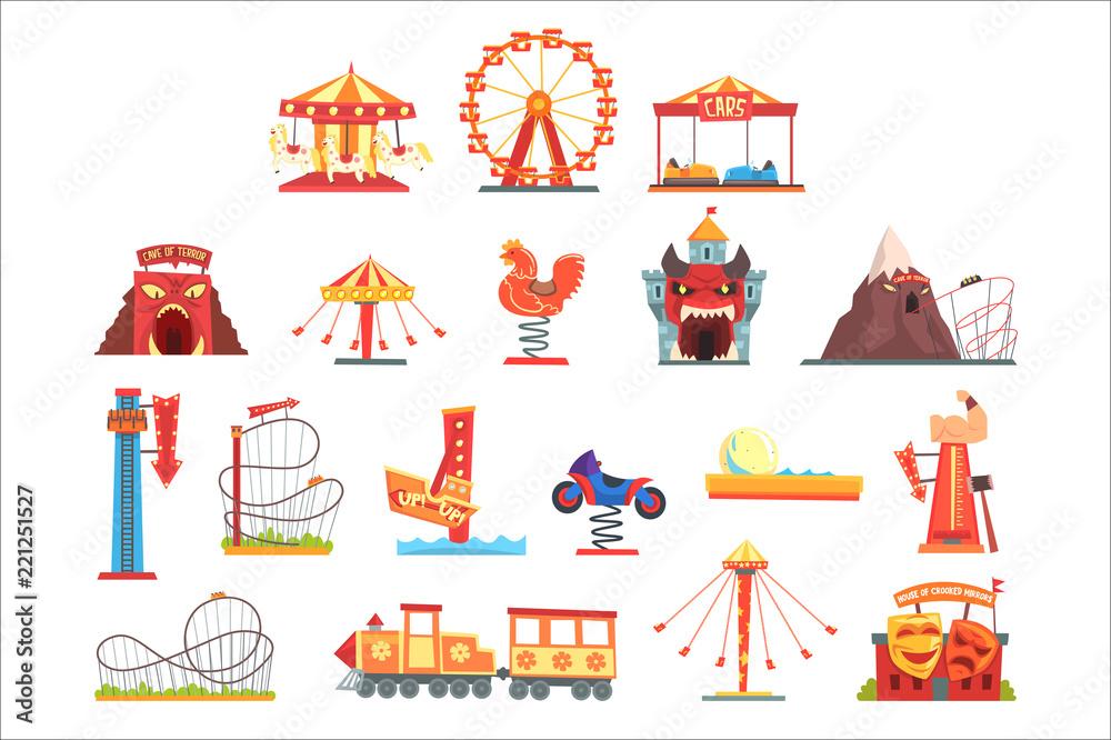 Fototapeta Amusement park elements set, funfair attraction colorful cartoon vector Illustrations