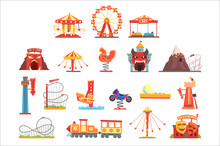 Amusement Park Elements Set, F...