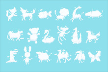 Animal Clouds White Silhouette Set, Kid Imagination Sweet Dreams Vector Illustrations