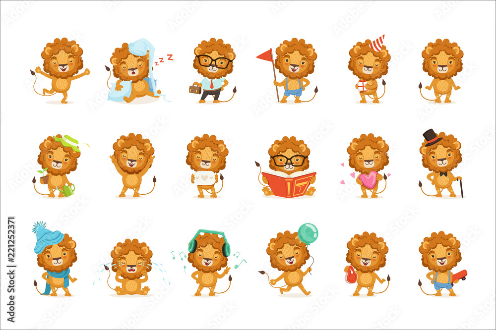 Fototapeta Cute lion characters posing in different situations colorful vector Illustrations
