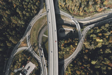View From Above Intersecting Freeways, Stuttgart, Baden-Wuerttemberg, Germany