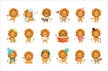 Cute Lion Characters Posing In...