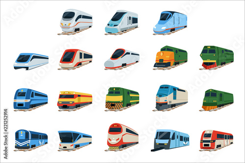 Fototapeta Retro and modern trains locomotive set, railway carriage vector Illustrations