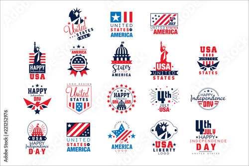 Photographie  United states of America logo templates set, Happy Independence Day badges vecto