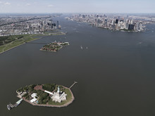 Aerial View Ellis Island And Hudson River, New York City, New York, USA