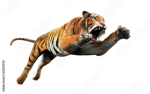 Fotografia Dangerous Bengal Tiger Roaring and Jumping Isolated on White Background, with Clipping Path, 3d Illustration