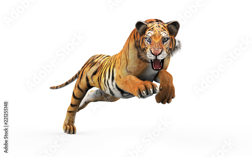 Stampa su Tela Dangerous Bengal Tiger Roaring and Jumping Isolated on White Background, with Clipping Path, 3d Illustration