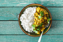 Cauliflower Spicy Curry Rice Wooden Background Copy Space Top View
