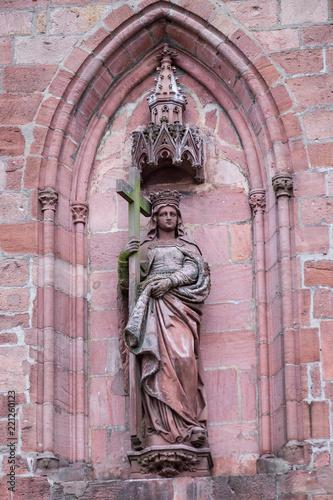 Foto op Aluminium Historisch mon. Die Statue der St. Helene in der Heilig-Kreuz-Kirche in Kayserberg/Frankreich