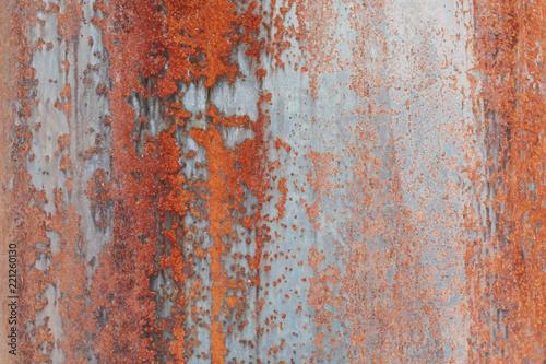 Close up orange rust on metal