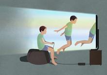 Boy Playing Virtual Reality Video Game