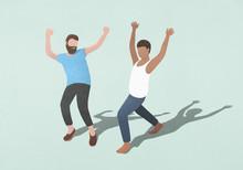 Carefree Men Dancing On Blue Background