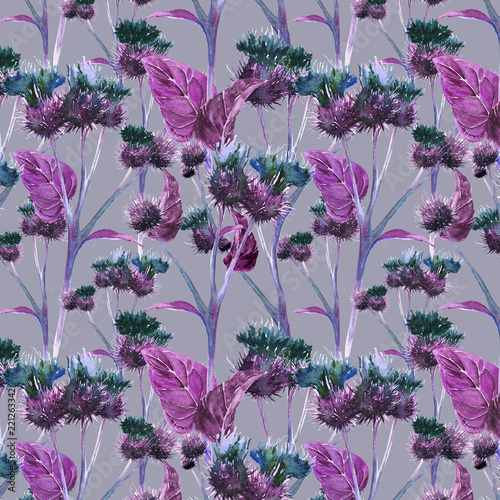 Hand drawn watercolor seamless pattern of a violet and green gentle meadow thistle on a gray background Wallpaper Mural