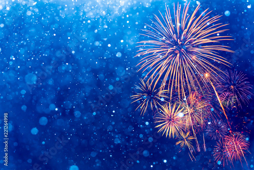 Fotografía  Fireworks with Abstract bokeh background